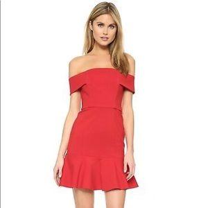 NWT - Nicholas Red Ponti Off Shoulder Mini Dress